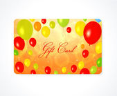 Bright Gift, Discount, Business card template (layout) with colorful balloons (yellow, red, green, orange colors) background. Design for gift certificate, Greeting Card, invitation, ticket. Vector — Stock Vector