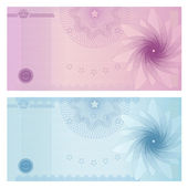 Gift certificate, Voucher, Coupon template with guilloche pattern (watermark), border. Background for banknote, money design, currency, note, check (cheque), ticket, reward. Blue, purple color. Vector — Stock Vector