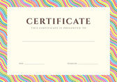 Certificate of completion (template or sample background) with colorful (bright, rainbow) wave lines pattern (border). Design for diploma, invitation, gift voucher, ticket, awards. Vector — Stock vektor