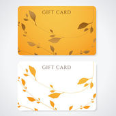 Gift card (discount card, business card) with floral pattern . Background design usable for gift coupon, voucher, invitation, ticket etc. Vector — Stok Vektör
