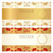 Stock Vector: Voucher, Gift certificate, Coupon template with floral border. Background design for invitation, banknote, money design, currency, check (cheque). Vector in gold, red (maroon) colors