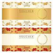 Voucher, Gift certificate, Coupon template with floral border. Background design for invitation, banknote, money design, currency, check (cheque). Vector in gold, red (maroon) colors — Stock Vector