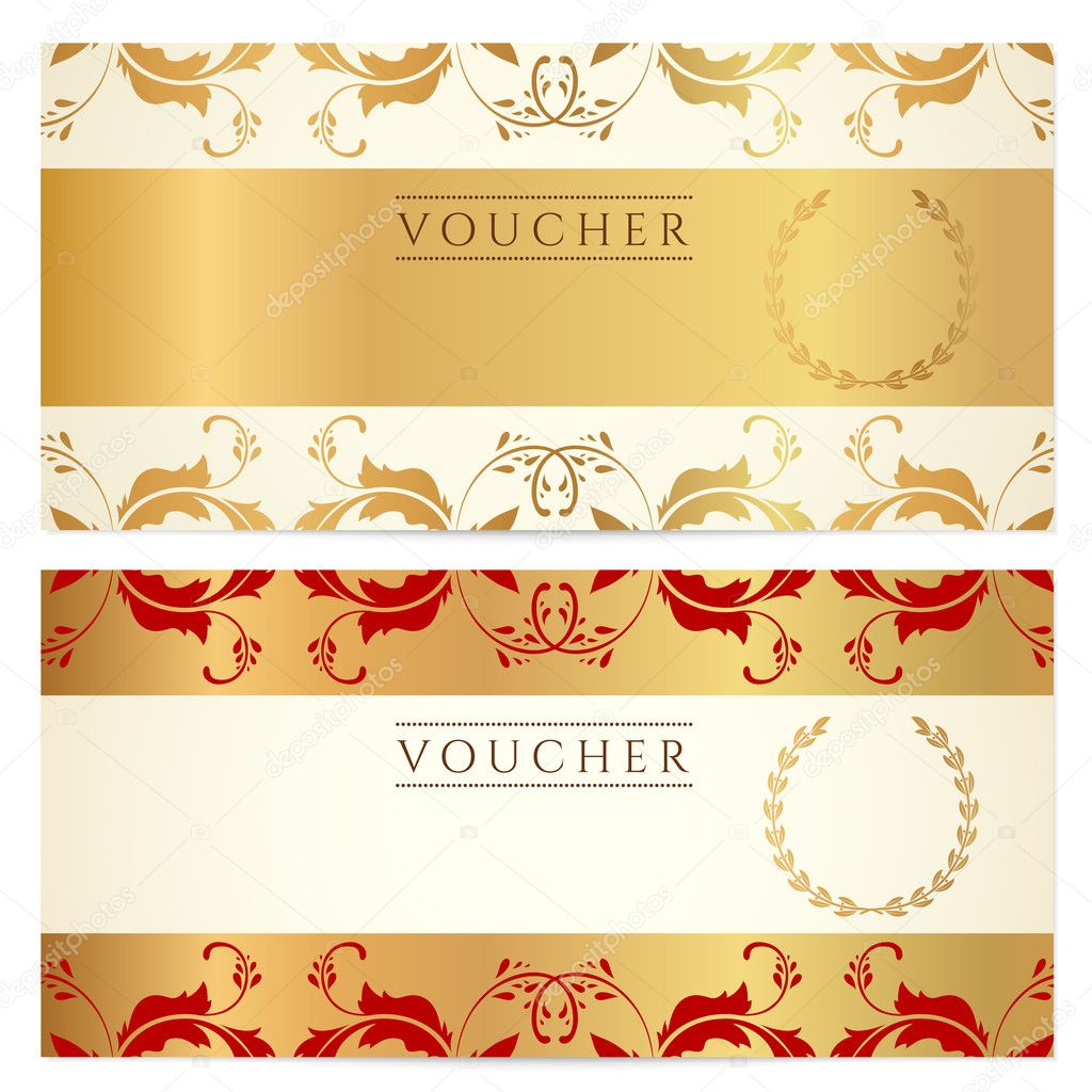 Download - Voucher, Gift certificate, Coupon template with floral ...