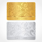 Silver and gold gift card (discount card, business card) with floral (scroll, swirl) pattern (tracery). Background design for gift coupon, voucher, invitation, ticket etc. Vector — Stock Vector