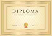 Certificate, Diploma of completion (design template, background) with abstract pattern, gold border (frame), insignia. Useful for: Certificate of Achievement, Certificate of education, awards — Vector de stock