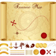 Treasure Map on old, vintage, antique paper (scroll or parchment) with cross, red mark, compass, anchor, banner ribbon, palm tree. Treasure hunt (Searching). Medieval Cartography. Vector template — Stock Vector