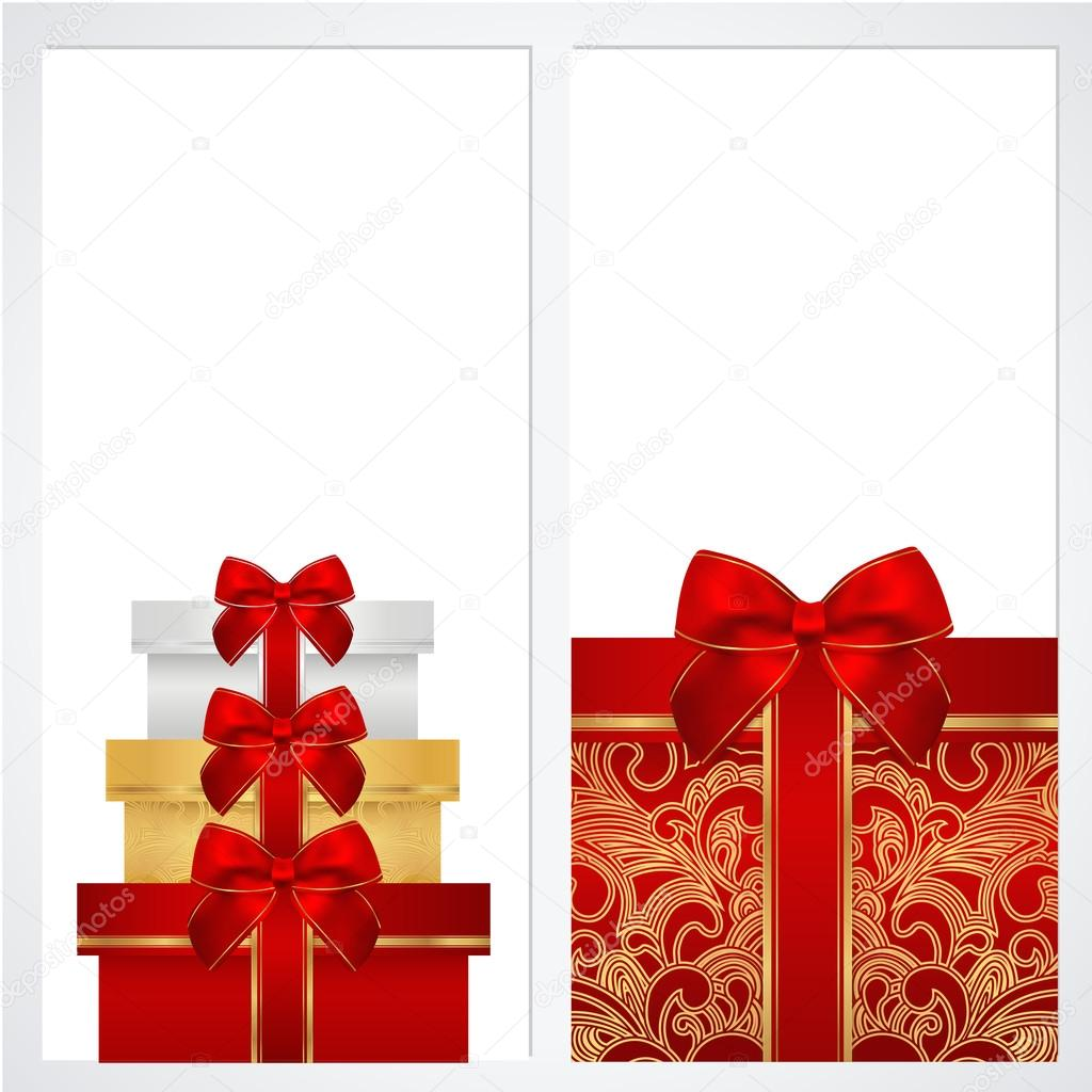 Voucher, Gift certificate, Coupon template with gift boxes, bow ...