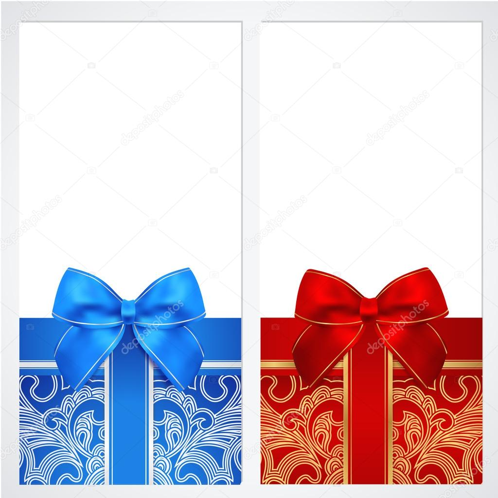 voucher gift certificate coupon template gift boxes bow voucher gift certificate coupon template gift boxes bow ribbons present