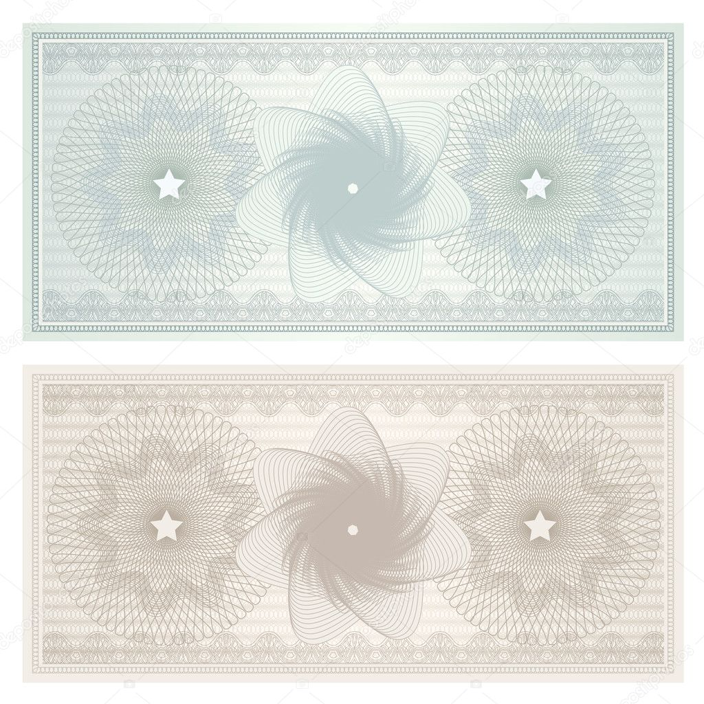 gift certificate  voucher  coupon template with guilloche pattern  watermark   border