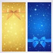 Coupon, Voucher, Gift certificate, gift card template with bow (ribbons, present) with sparkling, twinkling stars. Night background design for invitation, banner, ticket. Vector in gold, blue color — Stok Vektör