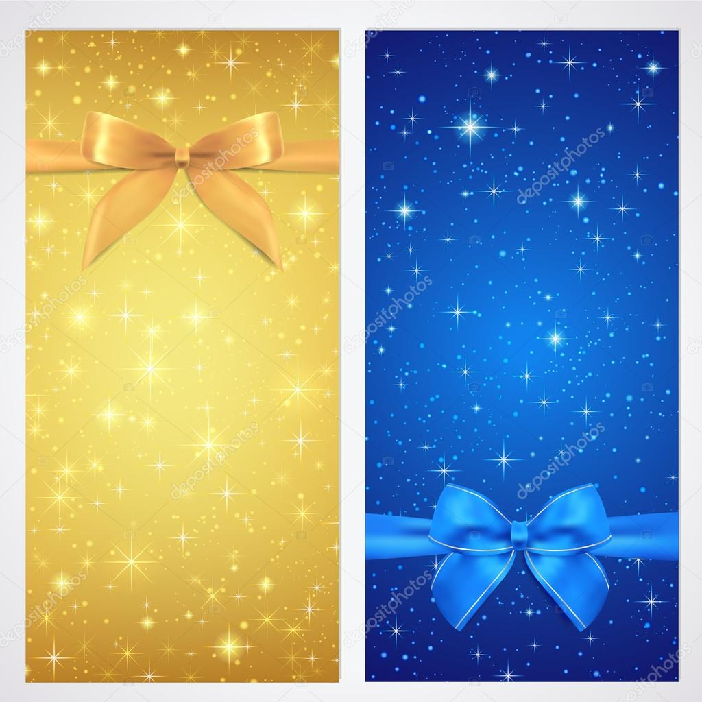 coupon voucher gift certificate gift card template bow coupon voucher gift certificate gift card template bow ribbons present sparkling twinkling stars night background design for invitation