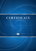 Certificate, Diploma of completion (design template, background) with dark blue guilloche pattern (watermark), frame. Useful for: Certificate of Achievement, Certificate of education, awards, winner — Stock vektor