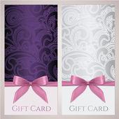 商品券、ギフトカード、バウチャー、花とクーポン テンプレート スクロール (渦巻き模様) パターン、弓 (リボン、現在)。招待状、チケット、バナーの背景デザインバイオレット、銀の色をベクトルします。 — ストックベクタ