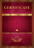 Dark red Certificate, Diploma of completion (design template, background) with floral pattern, gold border (frame), insignia. Useful for: Certificate of Achievement, Certificate of education, awards — Stockvector