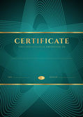 Dark green Certificate, Diploma of completion (design template, background) with star shape pattern, gold border (frame), insignia. For: Certificate of Achievement, Certificate of education, awards — Stok Vektör