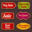 Vector set: Colorful Sale banners, labels (coupon, tag) template (layout) with gold frame (border). Bright design for sticker, web page ad, ticket etc. Corrugated background — Stock Vector #29743843