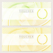 Gift certificate, Voucher, Coupon template with colorful (rainbow) guilloche pattern (watermark). Background for banknote, money design, currency, note, check (cheque), ticket, reward. Vector — Stock Vector