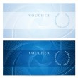 Gift certificate, Voucher, Coupon template with blue guilloche pattern (watermark). Dark background for banknote, money design, currency, note, check (cheque), ticket, reward. Vector — Stok Vektör