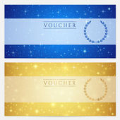 Gift certificate, Voucher, Coupon template with sparkling, twinkling stars. Night sky background design for invitation, banner, ticket. Vector in gold, blue color — Stok Vektör