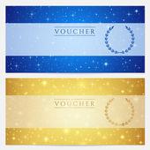 Regalo certificato, voucher, coupon template con spumante, scintillio di stelle. design di sfondo cielo notturno per invito, banner, biglietti. vector in colore oro, blu — Vettoriale Stock