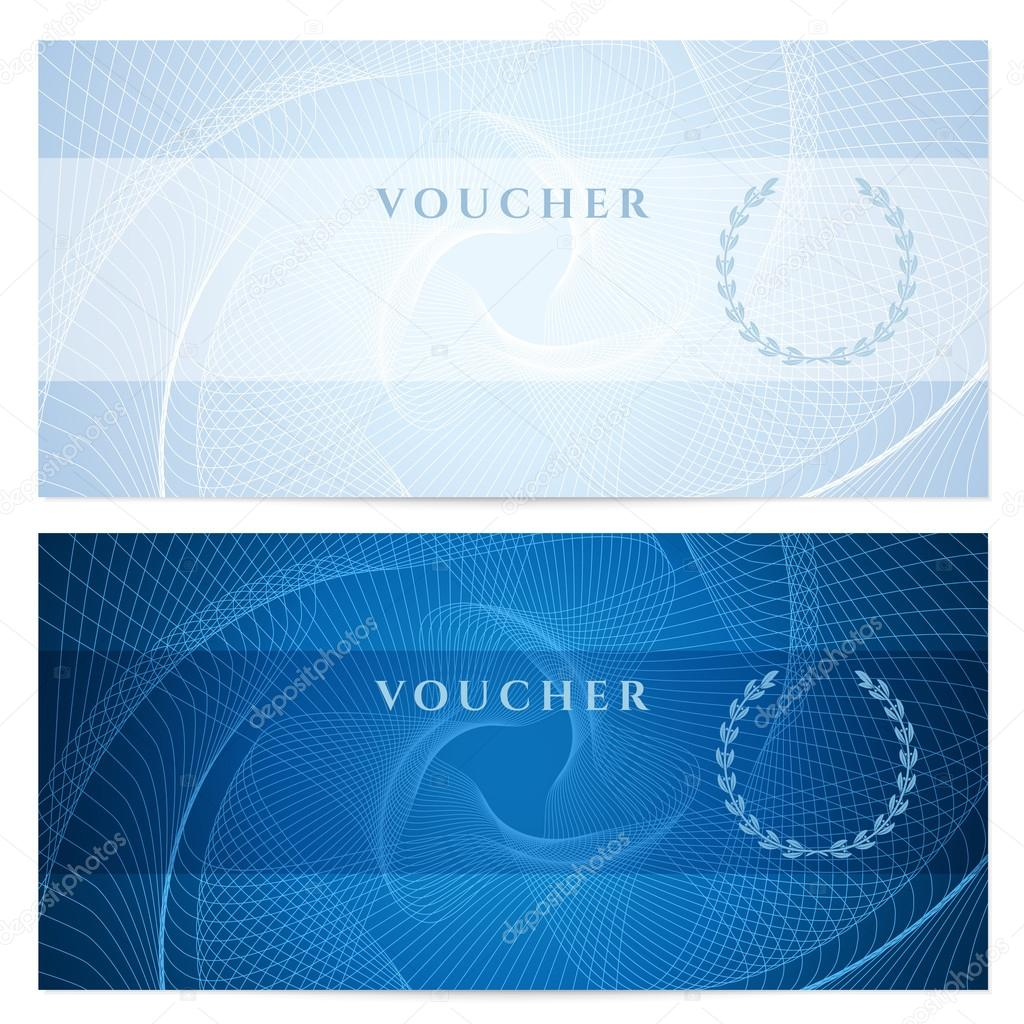 Gift certificate Voucher Coupon template with blue guilloche – Money Voucher Template