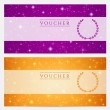 Gift certificate, Voucher, Coupon template with sparkling, twinkling stars. Night sky background design for invitation, banner, ticket. Vector in orange, blue violet — Imagen vectorial