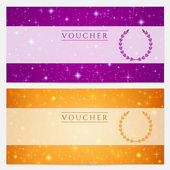 Gift certificate, Voucher, Coupon template with sparkling, twinkling stars. Night sky background design for invitation, banner, ticket. Vector in orange, blue violet — Vecteur