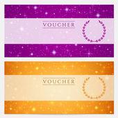 Regalo certificato, voucher, coupon template con spumante, scintillio di stelle. design di sfondo cielo notturno per invito, banner, biglietti. vector in arancione, blu viola — Vettoriale Stock