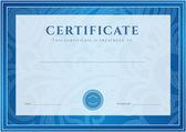 Certificate, Diploma of completion (design template, background). Floral (scroll, swirl) pattern (watermark), border, frame. For: Certificate of Achievement, Certificate of education, awards, winner — Stok Vektör