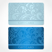 Blue, turquoise gift card (discount card, business card) with floral (scroll, swirl) pattern (tracery). Background design for gift coupon, voucher, invitation, ticket etc. Vector — Stock Vector