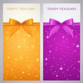 Coupon, coupon, certificat cadeau, modèle de carte cadeau avec archet (rubans, présents) avec mousseux, des étoiles scintillantes. design fond de nuit pour invitation, bannière, billet. vector — Vecteur