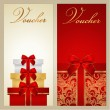 Voucher, Gift certificate, Coupon template with border, bow (ribbons, present). Holiday (celebration) background design (Christmas, Birthday) for invitation, banner, ticket. Vector in red, gold colors — Stock Vector #30397799