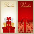 Voucher, Gift certificate, Coupon template with border, bow (ribbons, present). Holiday (celebration) background design (Christmas, Birthday) for invitation, banner, ticket. Vector in red, gold colors — Stock Vector