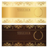 Voucher, Gift certificate, Coupon template with floral border. Background design for invitation, ticket, banknote, money design, currency, check (cheque). Vector in gold, dark brown colors — Stock Vector