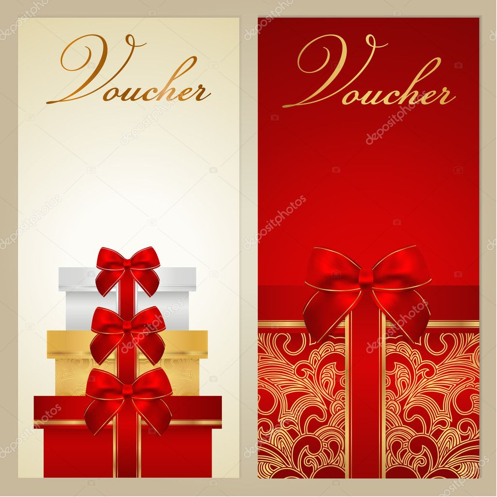 voucher gift certificate coupon template border bow voucher gift certificate coupon template border bow ribbons present holiday celebration background design christmas birthday for invitation
