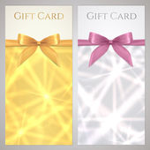Coupon, Voucher, Gift certificate, gift card template with bow, ribbon (present), sparkling, twinkling stars. Holiday background design for invitation, banner, ticket. Vector in gold, silver color — Vettoriale Stock