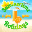 Summertime (summer vacation). Tropical Plumeria, Frangipani flower, airplane (plane), glass of orange juice on white sand. Beach holidays. Conceptual background (travel design): seascape (sea), ocean — Stock Vector