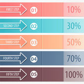 Business banners, colorful arrows with data, figures, numbers, info, interest. Background for workflow concept, step strategy (option), web design. Creative spreadsheet (Infographics) template, layout — Stock Vector