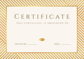 Certificate, Diploma of completion (template, background) with gold stripy (lines) pattern, frame. Certificate of Achievement, awards, winner, degree certificate, business Education (Courses), lessons — Stok Vektör