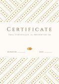 Certificate, Diploma of completion (template, background). Gold stripy (dots) pattern, white frame. Certificate of Achievement, award, winner, degree certificate, business Education (Courses), lessons — Stok Vektör
