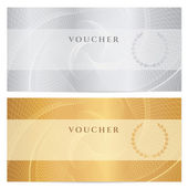 Voucher, Gift certificate, Coupon, ticket template. Guilloche pattern (watermark, spirograph). Background for banknote, money design, currency, bank note, check (cheque), ticket. Gold, silver vector — Stock Vector