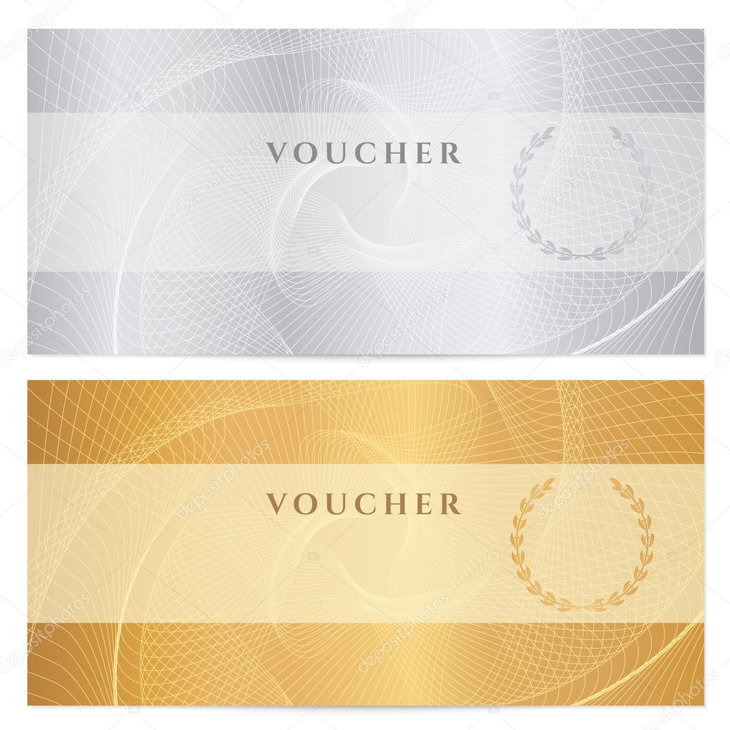 Voucher Gift certificate Coupon ticket template Guilloche – Money Coupon Template