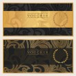 Voucher, Gift certificate, Coupon template. Floral, scroll pattern (bow, frame). Background design for invitation, ticket, banknote, money design, currency, check (cheque). Black, gold vector — Stockvector