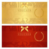 Voucher, Gift certificate, Coupon template. Floral, scroll pattern (bow, frame). Background design for invitation, ticket, banknote, money design, currency, check (cheque). Red, gold vector — Stock Vector