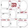 Set: Sale Coupon, labels (banner, tag) white template (vector design, layout) with blank frame, dotted line (dash line), red percent, scissors (cut off, cutting). Design save money, get discount — Image vectorielle