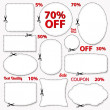 Set: Sale Coupon, labels (banner, tag) white template (vector design, layout) with blank frame, dotted line (dash line), red percent, scissors (cut off, cutting). Design save money, get discount — Imagens vectoriais em stock