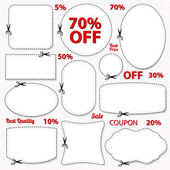 Set: Sale Coupon, labels (banner, tag) white template (vector design, layout) with blank frame, dotted line (dash line), red percent, scissors (cut off, cutting). Design save money, get discount — ストックベクタ