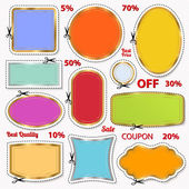 Set: Sale Coupon, labels (banner, tag) white template (vector design, layout) with blank frame, dotted line (dash line), red percent, scissors (cut off, cutting). Design save money, get discount — Vector de stock