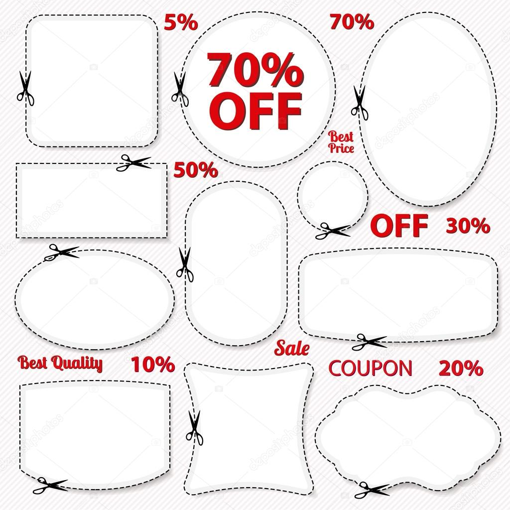 set coupon labels banner tag white template vector vector set coupon labels banner tag template layout blank frame dotted line dash line percent cutting scissors cut off