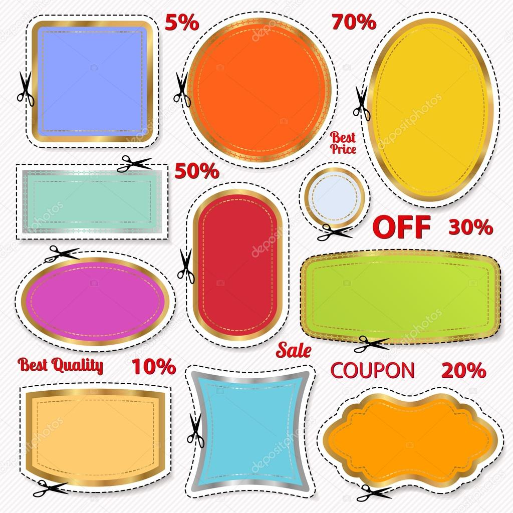 set coupon labels banner tag white template vector set coupon labels banner tag white template vector design